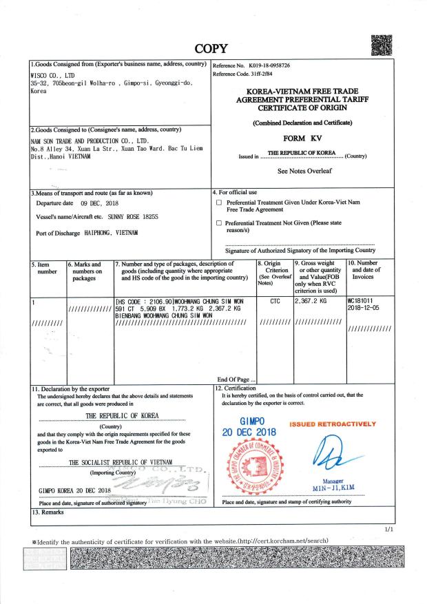 Certificate of origin (Văn bản hợp tác với Kwangdong)